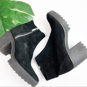 Zara Trf black suede platform booties size 8